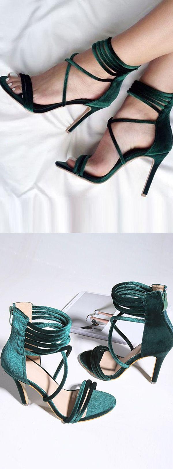green heels, strap heels, velvet heels, sandals, fashion sandals