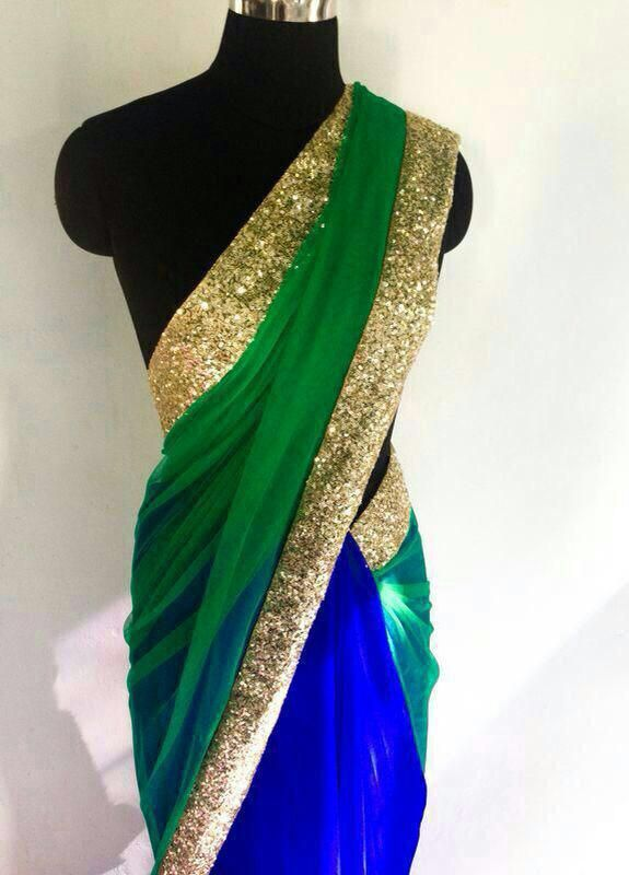 Half green net half royal blue georgette saree....With gold sequence border & gold sequence unstitched blouse...... made by order only.........(can b made in any colours) CALL/WHATSAPP : +91 9425052960 mail : stylemeindore@gmail.com https://www.facebook.com/StyleMee/photos/a.353815694702961.85020.352223348195529/670253193059208/?type=1&theater
