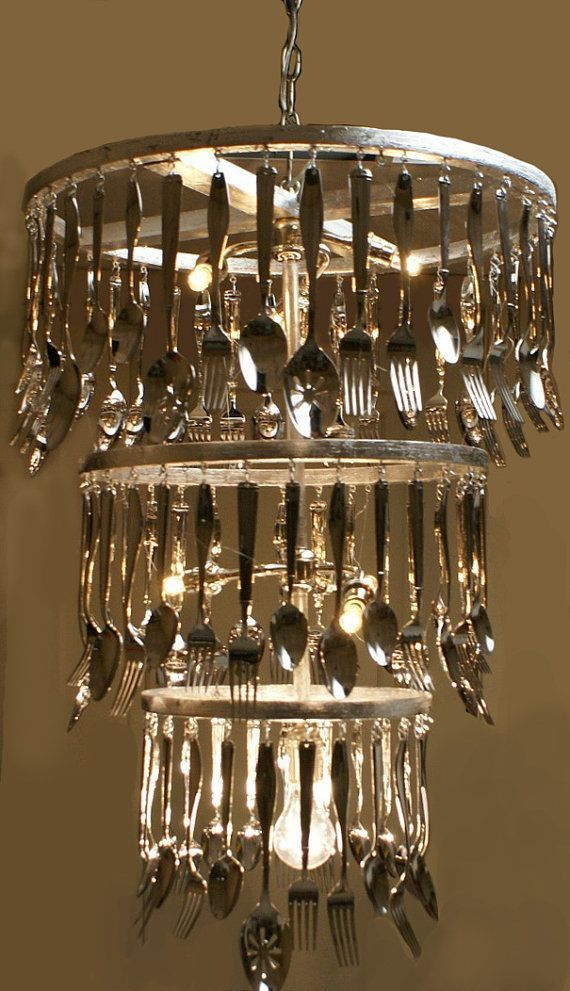 recycle cutlery lamp