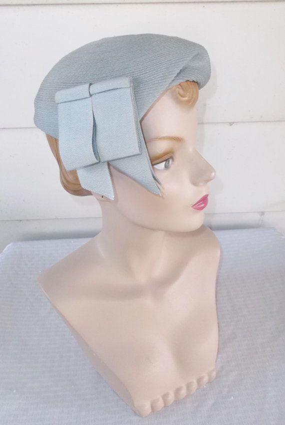 1950s Vintage Powder Blue Hat with Ribbons by MyVintageHatShop