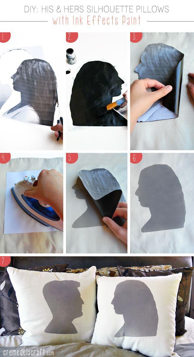 DIY custom his & hers pillows. Great anniversary gift idea!