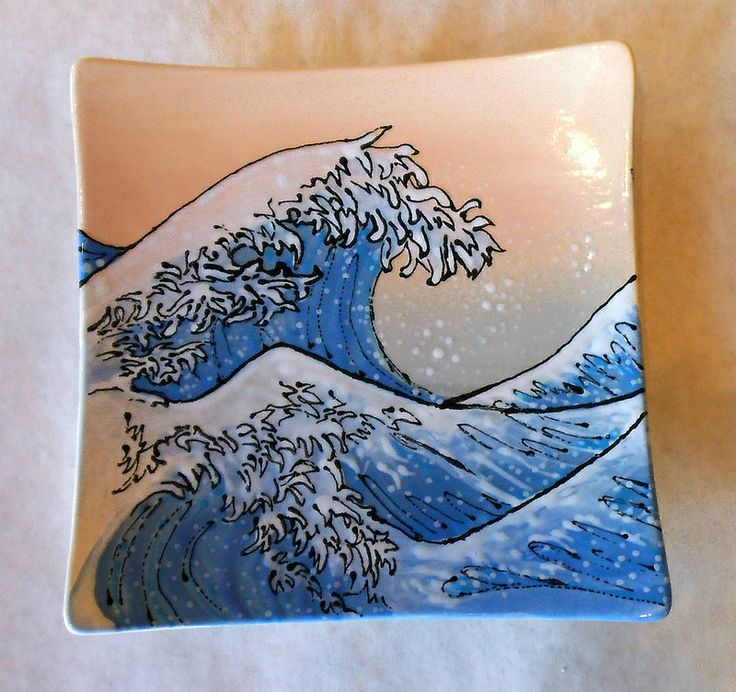 The Great Wave sushi plate painted by staff at Color Me Mine Saucon Valley PA