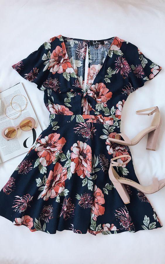 Lulus | Botanic of Time Navy Blue Floral Print Tie-Front Skater Dress | Size Sma…