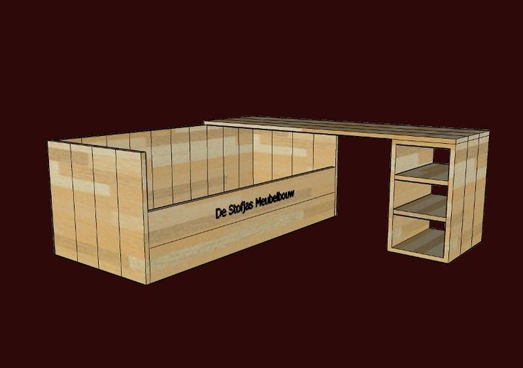 Steigerhouten bureau bed combinatie