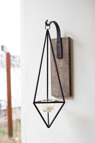 Kalalou Hanging Metal Diamond Wall Candle Sconce - The most innovative and creative way to lighten up your wall. This is a sconce which is a candle holder attached to a wall with an ornamental bracket. Kalalou brings to you a hanging metal diamond wall candle sconce.