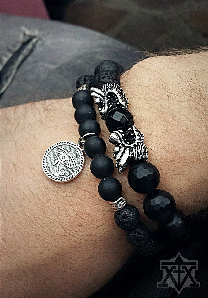 All Black Dragons and the Horus Eye Bracelet by FXMX Empire - both made with matte black Onyx and Lavastone