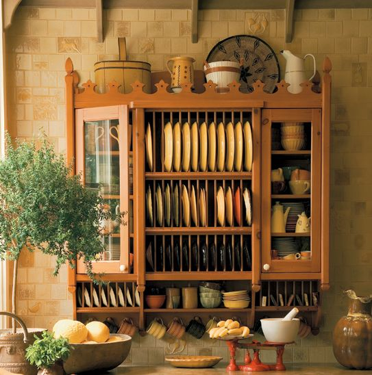 British Colonial Kitchen Crenellated Dish Cabinet for an Edwardian manor.