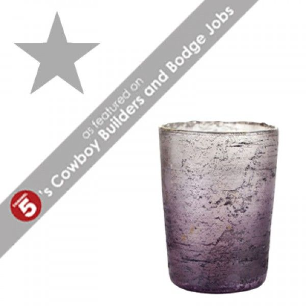 STEPHANIE Large Purple Opaque Glass Tea Light Holder *AS FEATURED ON CHANNEL 5's COWBOY BUILDERS & BODGE JOBS*