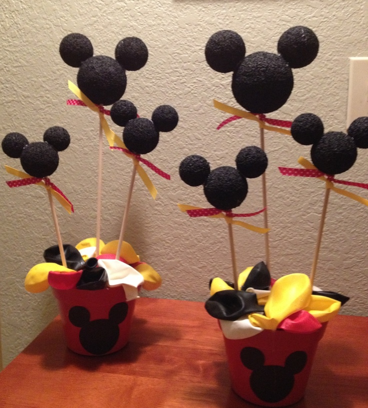 Mickey mouse party centerpieces baby shower pinterest for Baby mickey decoration ideas