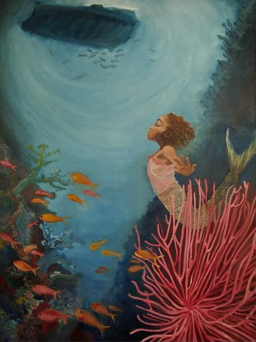 Image result for free and stock images paintings and artwork flowering coral reef with mermaid