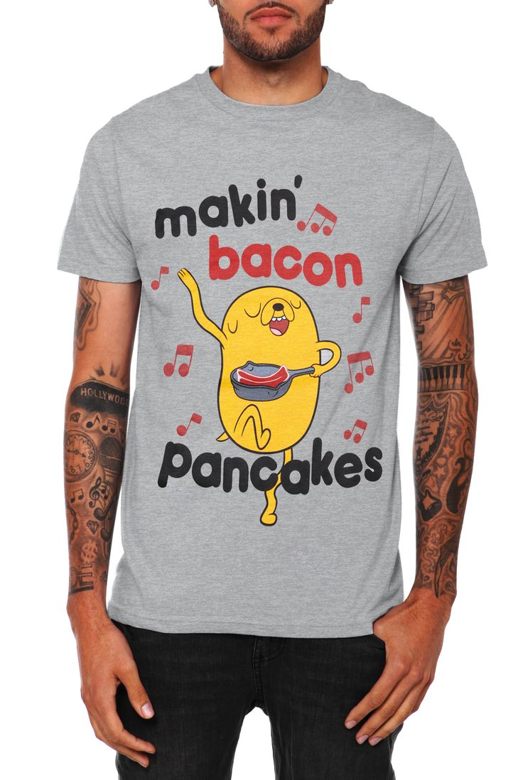 """Bacon pancakes, makin' bacon pancakes,Take some bacon and I'll put it in a pancake,Bacon pancakes, that's what it's gonna make,Bacon pancaaake!"""