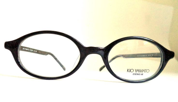 Kio Yamato Black Round Eyeglasses Frames Horn Rim Ovals Antique Silver Japan New Old Stock 45-19, Kio Yamato Eyelasses, retro mod glasses by MushkaVintage3 on Etsy