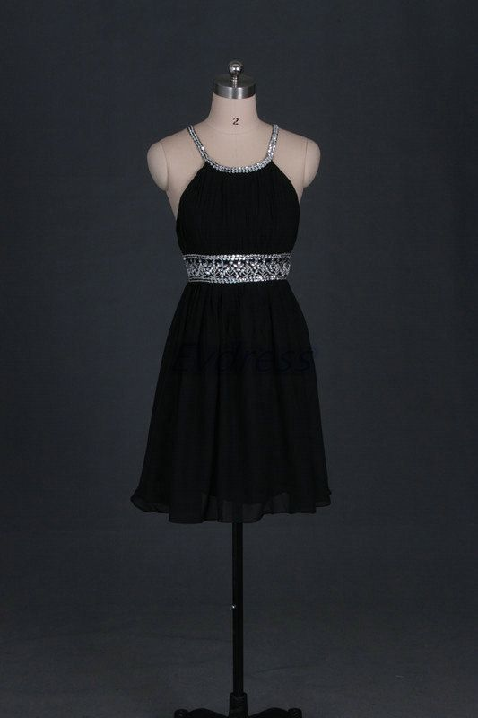 Gorgeous @bgoodrum67  Simple black chiffon homecoming dress,short cheap prom dresses with sequins,2014 women gowns for party hot.