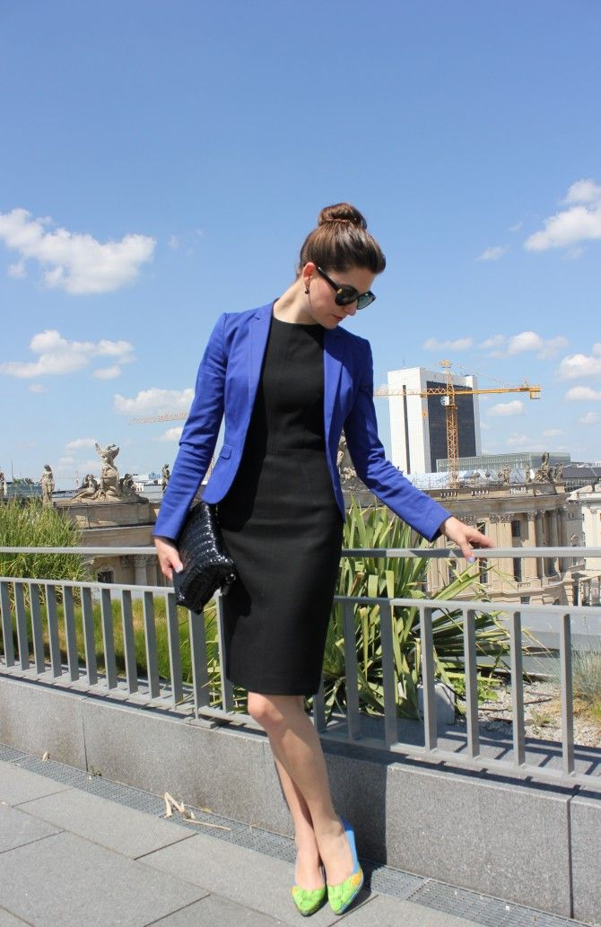 black shift dress + cobalt blazer + bright heels- Great outfit idea and you can mix up the accent color