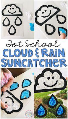 How cute is this rain cloud sun catcher? A perfect activity for tot school, preschool, or the kindergarten classroom.