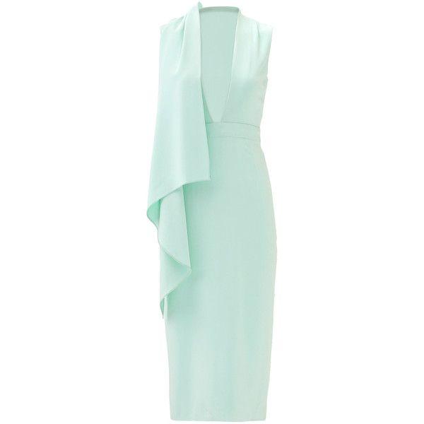 Rental Cushnie Et Ochs Mint Cady Scarf Dress ($250) ❤ liked on Polyvore featuring dresses, vestidos, short dresses, green, short sleeveless dress, green sleeveless dress, v neck mini dress, sheath dress and v-neck dresses