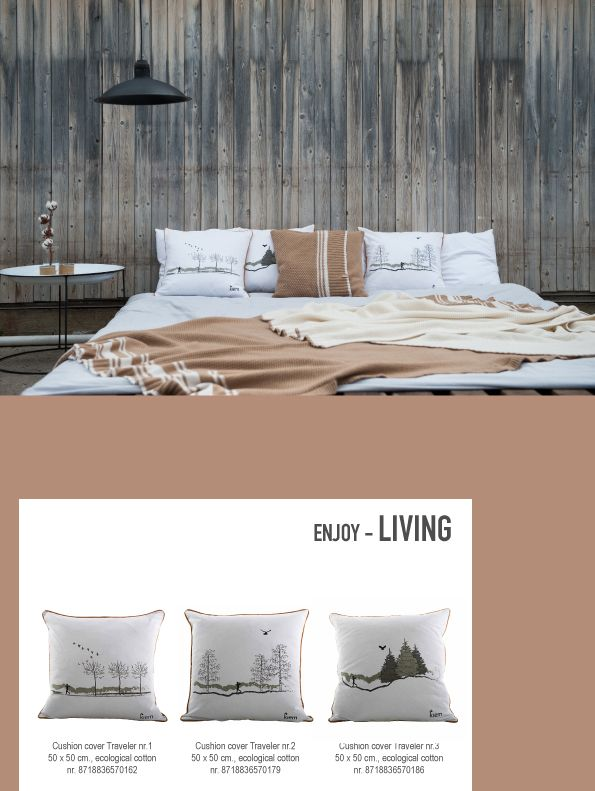 Design cushions, made of ecological cotton in white with gray tones. The Traveler walkes through three different landscapes. Which one is your favorite? | www.kiem-wayoflife.com
