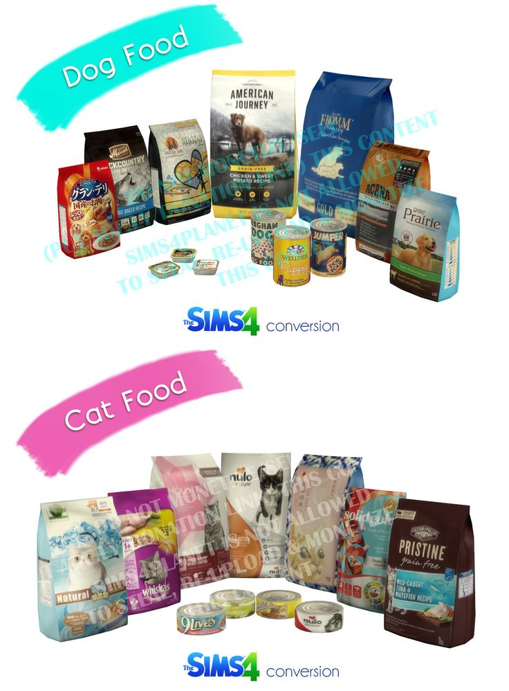 Dog cat food packages cans ts4 base game compatible