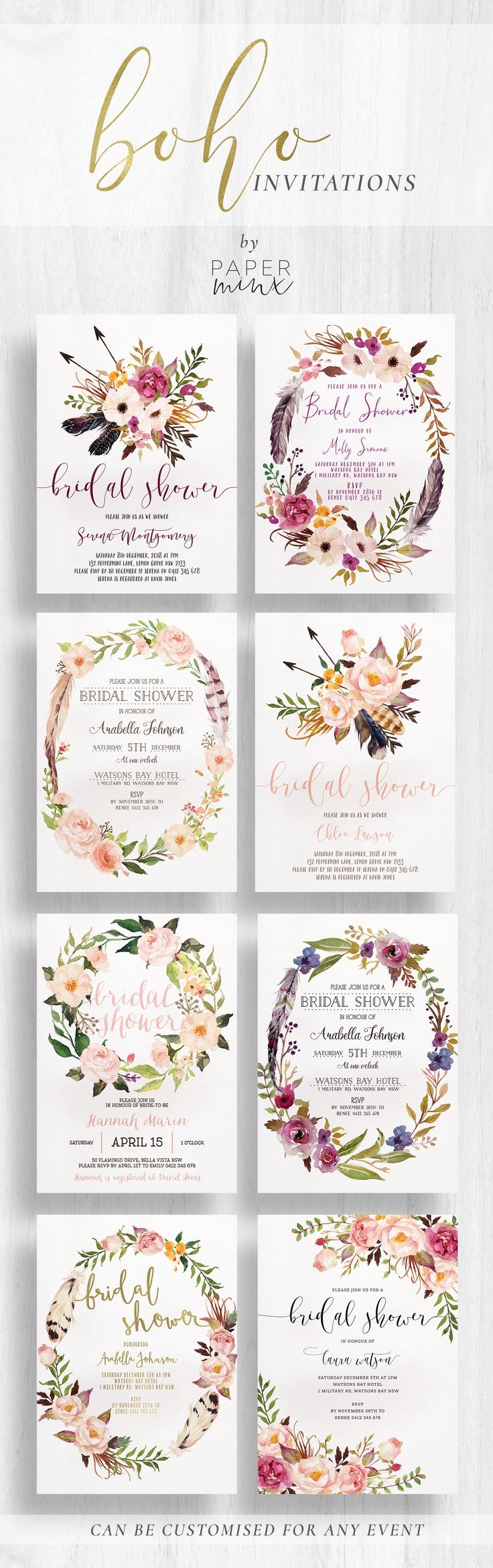 Boho Bridal Shower Invitations by Paper Minx Designs - Printed on high quality cardstock - Head over to www.paperminxdesigns.etsy.com