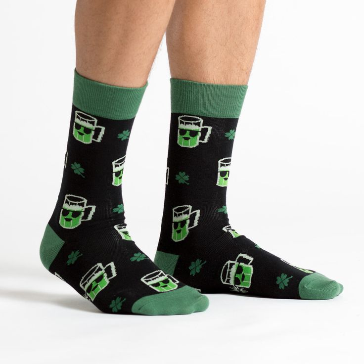Who says beer isn't lucky? Keep it real with our Lucky Beer Socks - Men's Crew for St. Patrick's Day Style: CrewSize: Fits men's shoe sizes 7 t