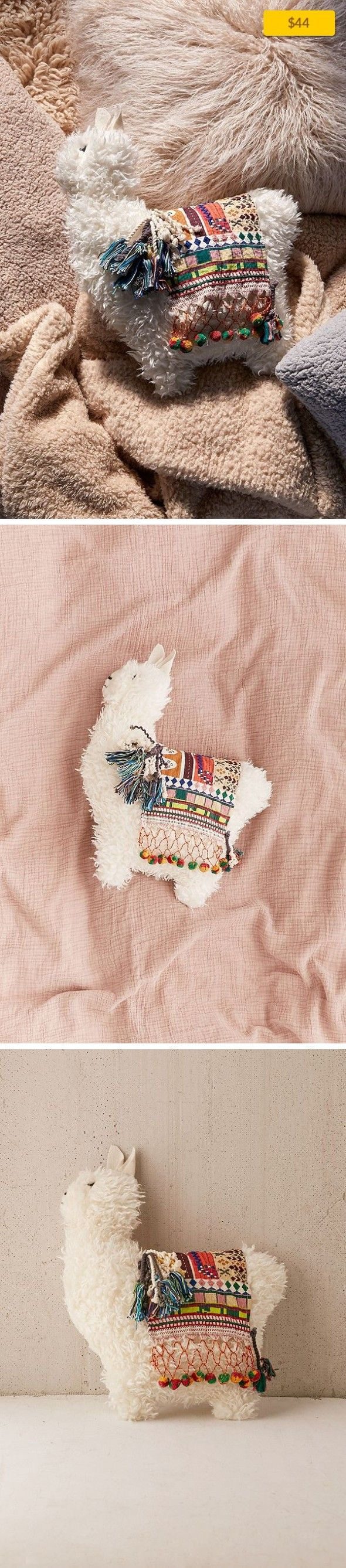 """Furry Llama Pillow Apartment, Art + Decor, Pillows + Throws   Super soft + adorable lil llama pillow! Made with faux fur + cotton for a cozy addition to any couch, chair or bed. Content + Care - Faux fur, cotton - Spot clean - Imported Size - Dimensions: 15""""l x 17""""h"""