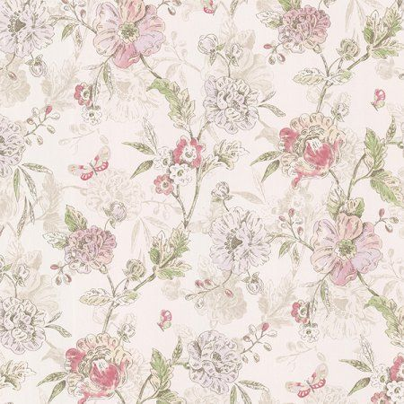 Brewster Beecroft Pink Butterfly Peony Trail Wallpaper