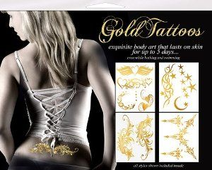 Gold Tattoos 4pk - Celestial Sparkle by Gold Tattoos. $17.00. These gorgeous gold tattoos look like they were painted on your skin! Each pack has 2 or 4 pages of various designs. Quick and easy to apply, simply wet the skin, apply the tattoo and wet the back of the paper sheet. They last for up to 5 days and you can even take a shower with them on!