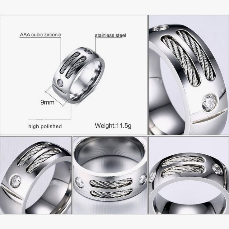 9MM Stainless Steel Rings for Men with Cubic Zirconia Male Wire Alliance anillo hombre Gifts Jewelry