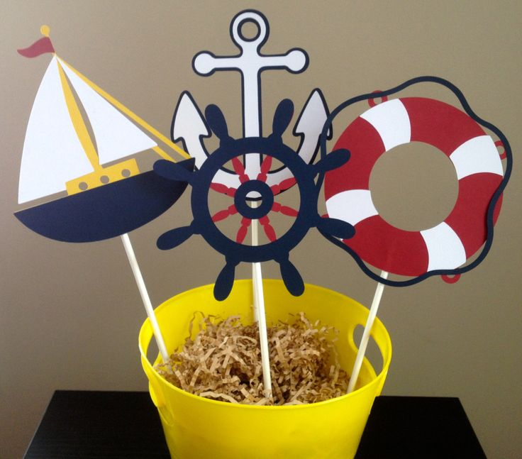 Nautical Themed Centerpiece - Set of 8 - Customizable. $10.00, via Etsy.