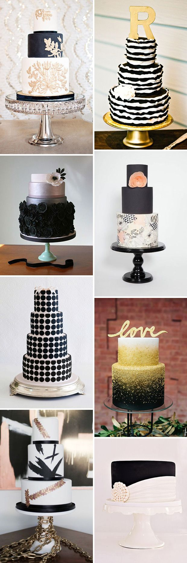 Gorgeous Black and White Wedding Cakes.♥..¸¸.•♥•