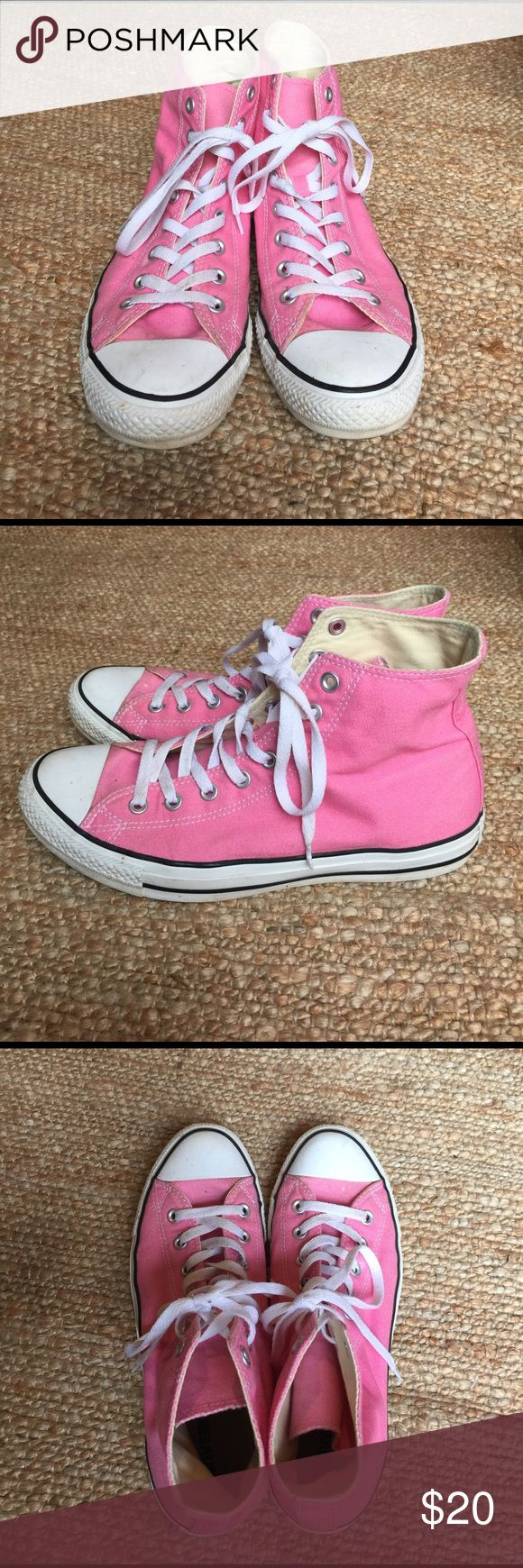 Pink high top converse Women's size 11 Men's 9.5 Pink high top converse Women's size 11 Men's 9.5. I bought them new and I've worn the probably like 10 - 15 times. They have some signs of wear around the bottom white trim from walking outside but they are in great shape! Converse Shoes Sneakers