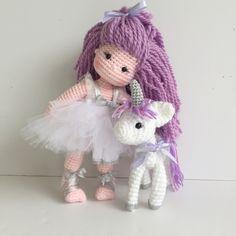 Crochet doll and unicorn @Nathaliesweetstitches
