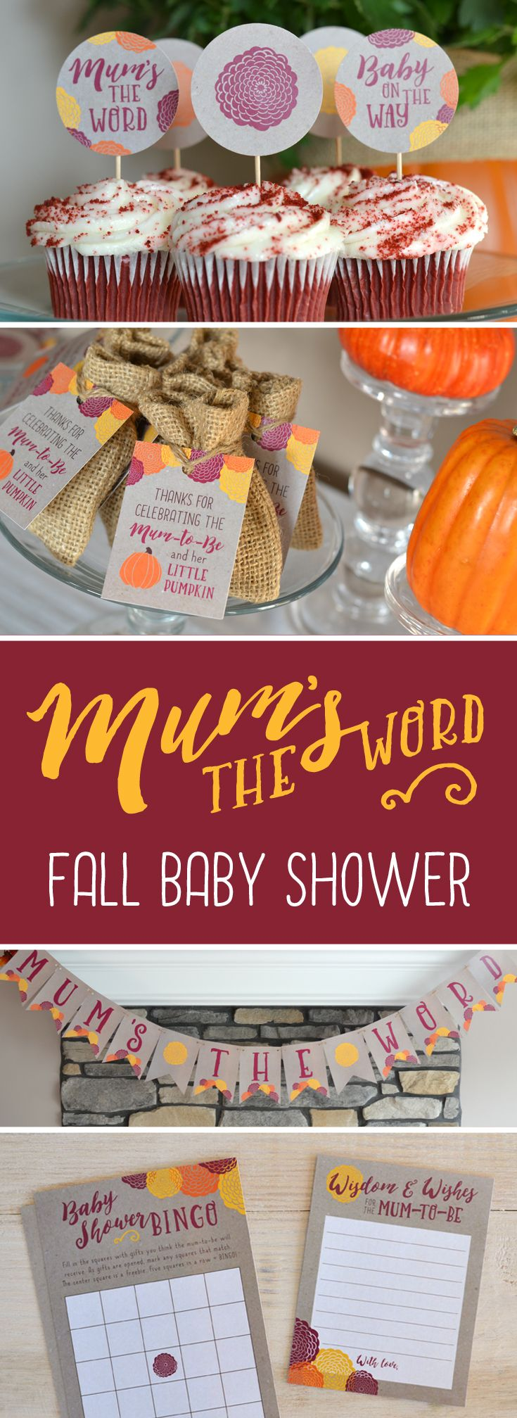 """Mum's the word! Fall mums are the center of attention at this rustic baby shower. Perfect for a gender-neutral shower celebrating the """"mum-to-be""""! Printable invitation, decorations and activities available at http://etsy.me/2dygNX6."""