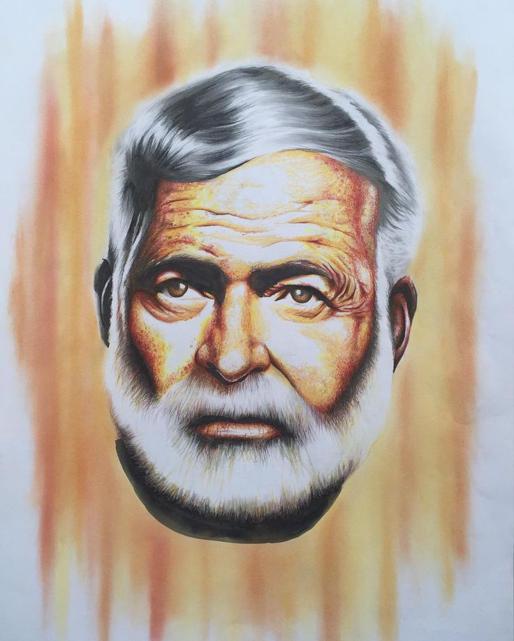 Ernest (Hemingway) by JB Vincent A2 Framed / Coloured pencil on paper Original artwork  Limited edition available in A4 - $120.00