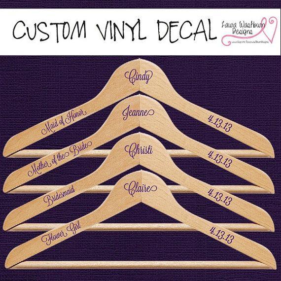 Vinyl Wedding Hangers  Custom Vinyl Decal by LauraWashburnDesigns, $2.00