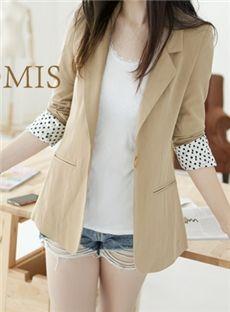 Distinctive OL Style Long Sleeve Turndown Neckline Coat