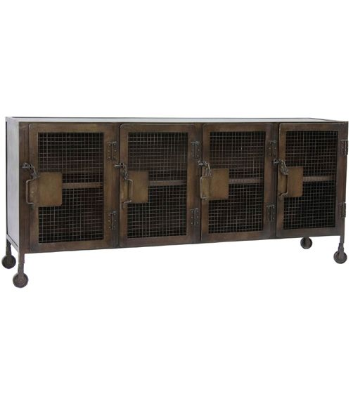 Plasma TV Stand. Industrial locker style crafted in steel with distressed paint finish.