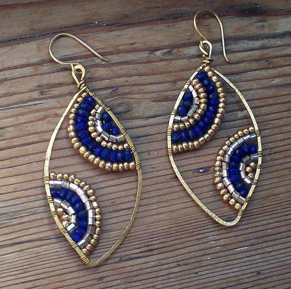 Lapis lazuli pendant earrings // Lapis lazuli jewelry // brass