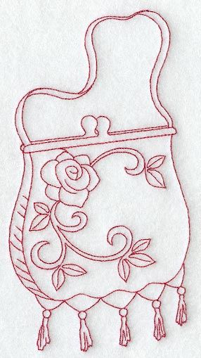 Victorian Ladies Embroidery Designs | Victorian Evening Bag (Redwork)