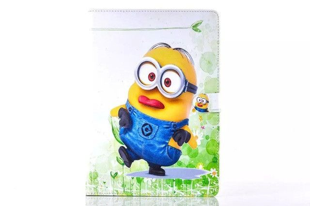 Cartoon New Despicable Me Minions Character PU Leather cover For apple ipad 2 ipad 3 ipad 4 case Tablet Protective Cover+film