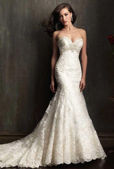 Suzanne neville fall 2014 dazzle crepe sheath wedding for Allure long sleeve wedding dress
