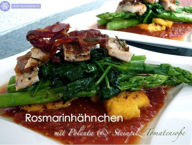 Jamie Oliver: rosemary chicken polenta & asparagus on porcini mushroom tomato sa…
