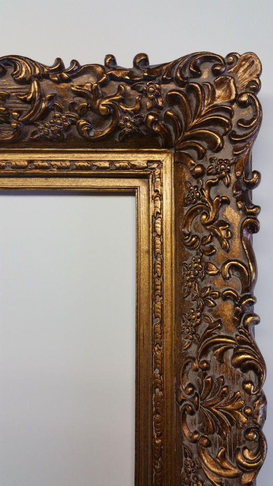 Wide Ornate Antique Gold Gilt Bronze Floral Baroque Picture Mirror