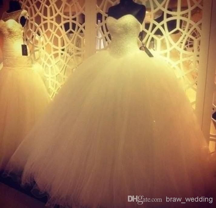 Wholesale Ball Gown Wedding Dresses - Buy Real Beaded Sweetheart Ball Gowns Floor Length White Strapless Wedding Dresses Tulle Off The Shoulder Lace Up Sleeveless Bridal Gowns Custom, $162.54   DHgate