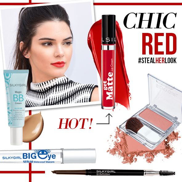 ‪#‎StealHerLook‬ : ‪#‎kendalljenner‬ neutral eyes with Chic of RED on the lips. So perfect!   Lips - Get Matte Lip Cream 04 Bold (HOT!) Cheek - Blush Hour 02 Dune Rose face - Magic BB Cream eyes - Big Eye Serum Mascara brow - Hi Definition Brow Liner  All product available at All counter Silkygirl Dept. store, Watsons, Guardian, Century, Boston, Dan+dan, Beau Shop