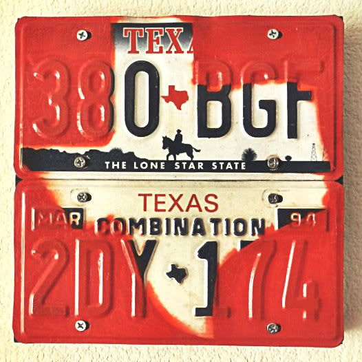 The Craft Caboodle: Texas License Plate Wall Art. Could do with any state! Cute:)