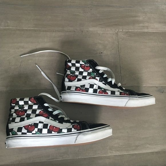 "Super cute cherry vans ""Skate high vans"" in cherry and checkered print only worn twice make offers Vans Shoes"