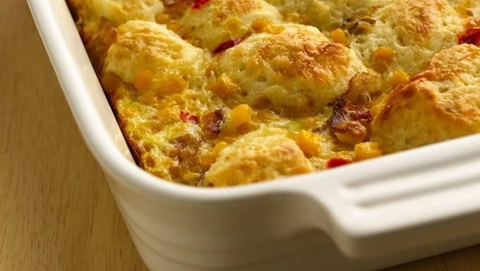 This egg and bacon bake is topped with frozen biscuits for a quick 'n easy version of the classic breakfast dish.