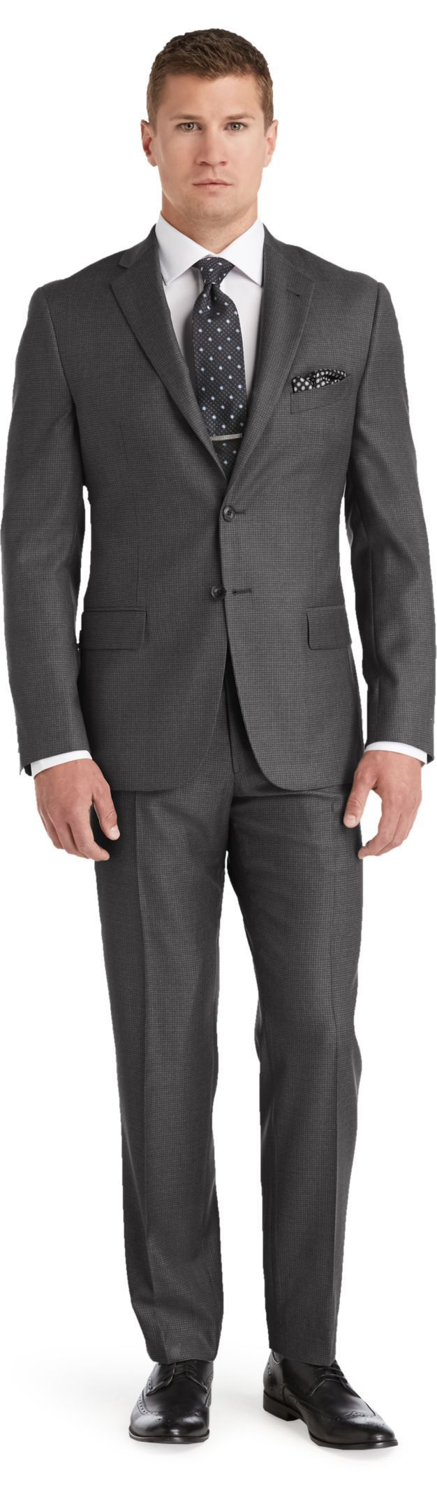 Reserve 2 Button Plain Front Slim Fit Medium Grey Check Suit Big and Tall