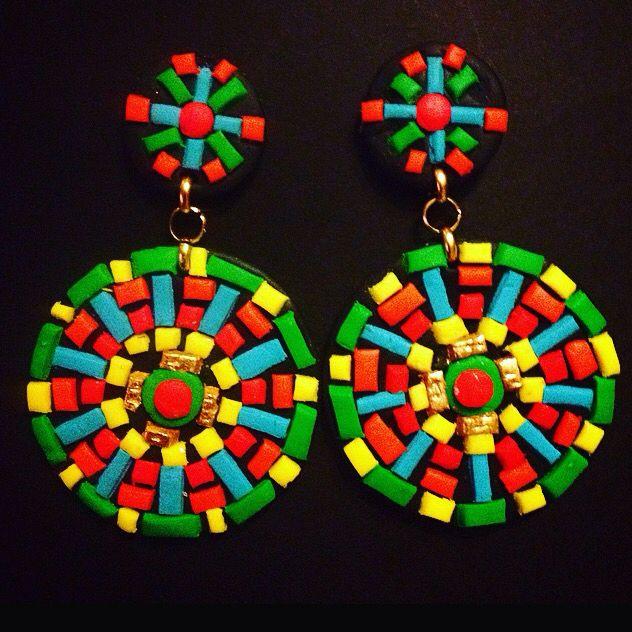 Mosaic multicolored bohostyle earrings
